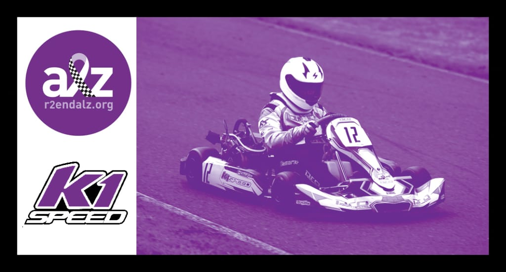daniel demaras racing a go kart as part of the charity race to end alzheimers event in toronto