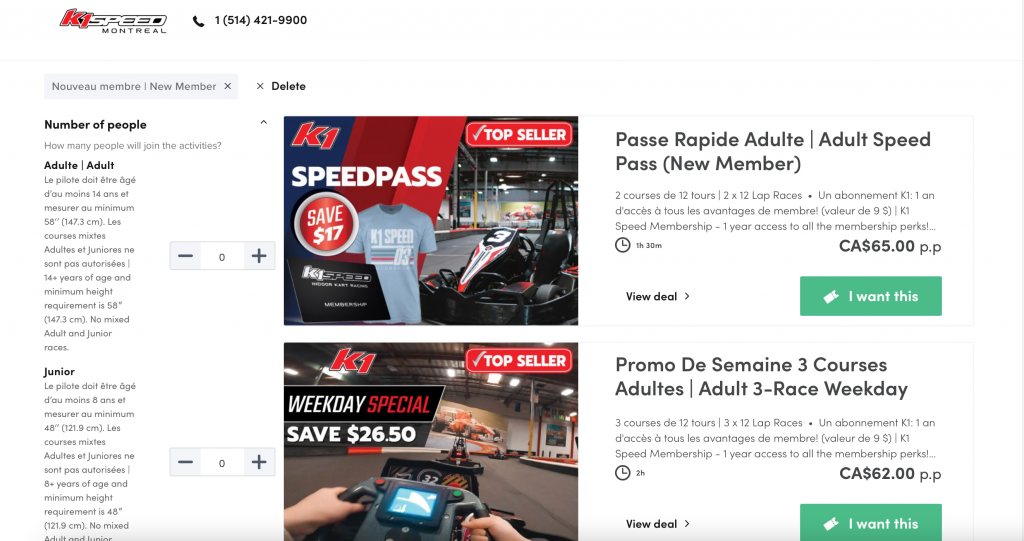 K1 Speed Book Online Packages